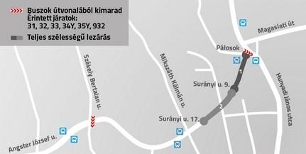 Lezárás lesz a Surányi úton, több busz menetrendje változik
