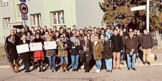 Tarolt Prágában a PTE Zeneművészeti Intézetének fúvószenekara