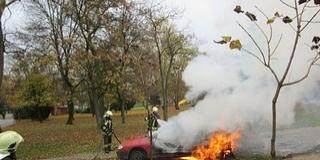 Kigyulladt és teljesen kiégett egy autó Harkányban
