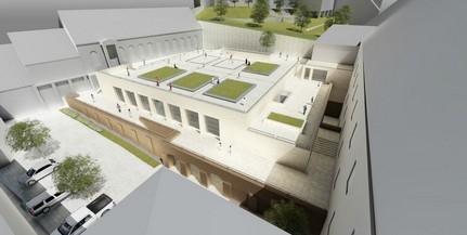 Lerakták a pécsi Szent Mór Katolikus Iskolaközpont új tornacsarnokának alapkövét