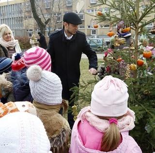 Madáreleségekkel díszítettek karácsonyfát a pécsi ovisok a Köztársaság téren